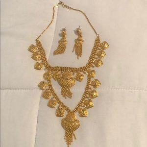 Indian gold earring necklace set